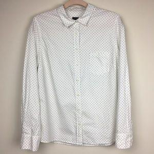 J. Crew Polka Dot White Button Up Shirt Large